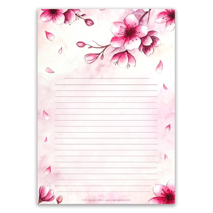 Papier à lettres «Fleurs de Cerisier»
