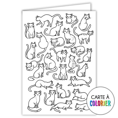 Les chats – Carte à colorier