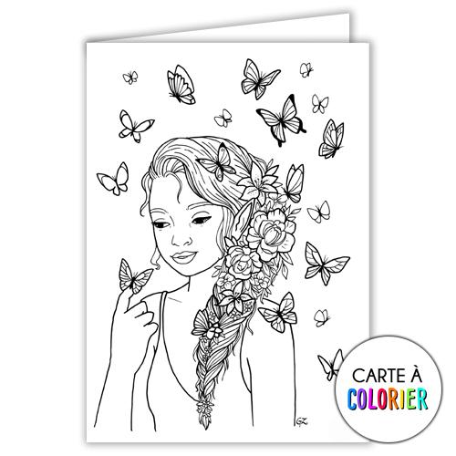 Fée aux papillons – Carte à colorier
