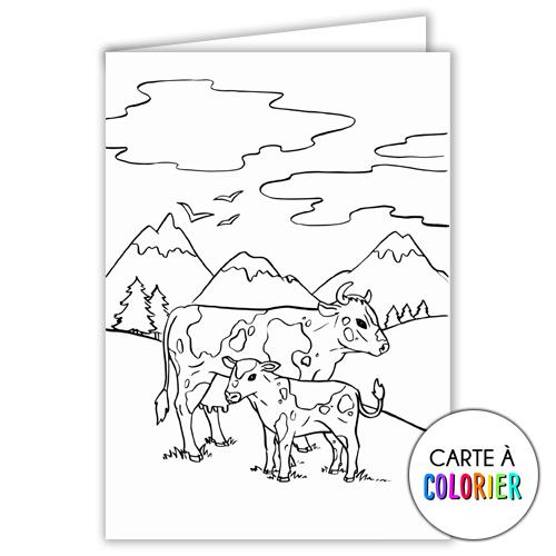Les vaches – Carte à colorier