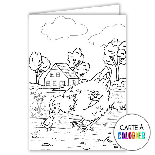 Poule – Carte à colorier